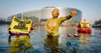 Activists keep a sinking statue of Lady Justice afloat in the icy waters surrounding the European Parliament in Strasbourg, ahead of a crucial vote on a controversial EU-Canada trade and investment protection deal. Environment, health and labour rights campaigners warn that the deal – known as CETA – would hand corporations the power to sue governments and threaten laws that protect nature, public health and social rights.
