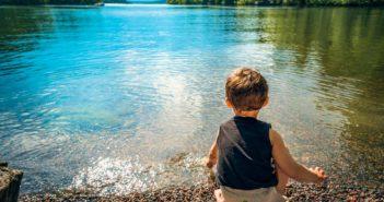 Little Water Toddler Lake Child Playing Boy Kid