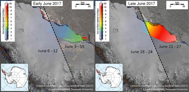 SWANSEA UNIVERSITY/AFP/Archives / Adrian Luckman Photo fournie par l'Université de Swansea montrant le détachement de cette gigantesque plateforme de glace nommée Larsen C, au début (G) et à la fin (D) du mois de juin 2017, en Antarctique