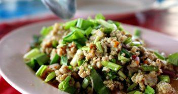 Plate Green Pork Chop Minced Meat Isan Food